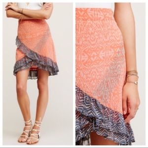 Free People Ruffle Trimmed Hi-Low Skirt